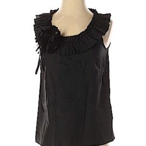 J. Crew | 100% Silk Sleeveless Top Scoop Ruffle